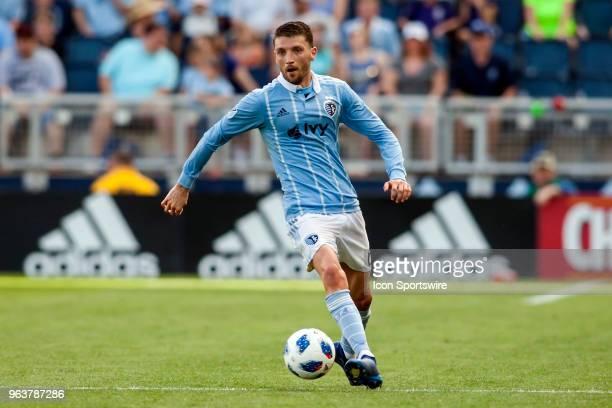 Sporting Kansas City midfielder Ilie Sanchez takes brings the ball upfield during the MLS regular season match between Sporting Kansas City and the...