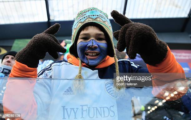 Sporting KC fan waits in the stands before of the start of the game against Real Salt Lake in the 2013 MLS Cup at Sporting Park on December 7 2013 in...