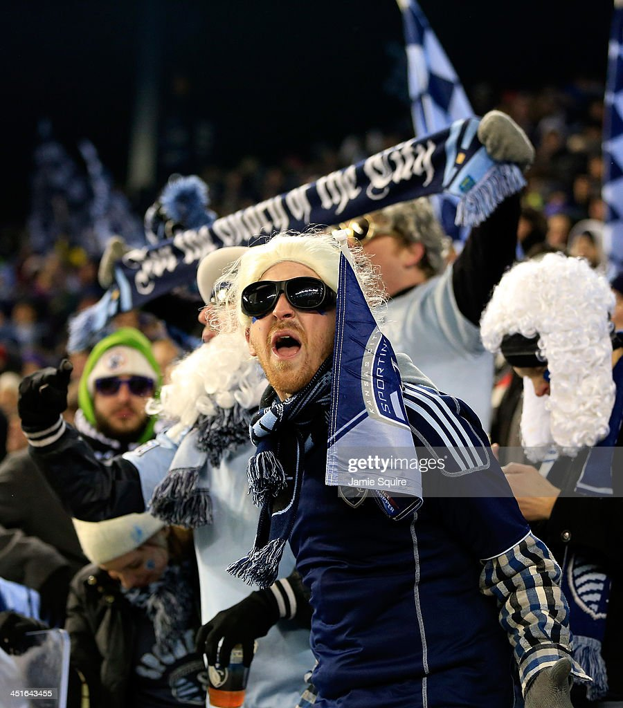 Sporting KC fans cheer during Leg 2 of the Eastern Conference Championship against the Houston Dynamo at Sporting Park on November 23, 2013 in Kansas City, Kansas.