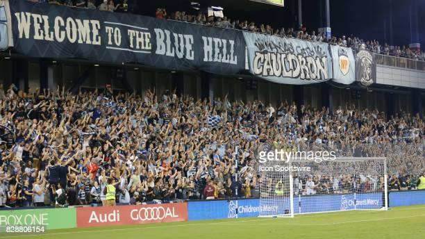 Sporting KC fans in The Cauldron celebrate the teams win in penalty kicks in the semifinal of the Lamar Hunt US Open Cup against the San Jose...