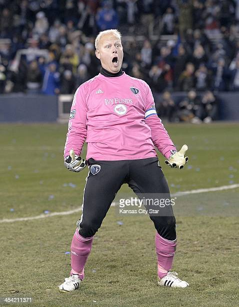 Sporting KC goalkeeper Jimmy Nielsen celebrates after blocking a penalty shot against Real Salt Lake in the MLS Cup Final at Sporting Park in Kansas...