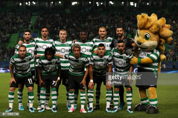 Sporting lineup before the UEFA Champions League group D match between Sporting CP and Olympiacos FC at Alvalade Stadium on November 22 2017 in...