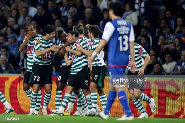 Sporting Lisbon celebrates a goal during a Portuguese League match between FC Porto and Sporting Lisbon in Porto, Portugal on March 17, 2007.