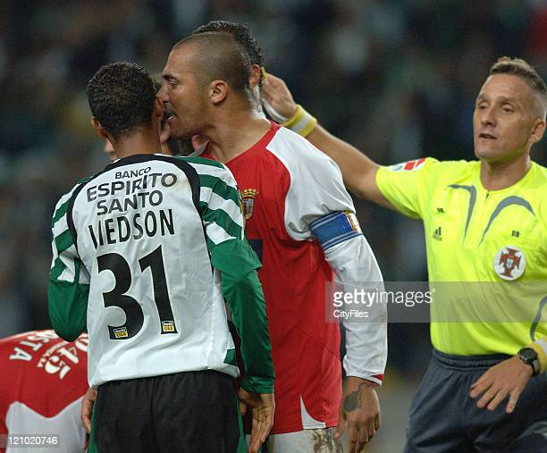 Sporting Lisbon played against Sporting Braga in the 9th round of the Portuguese National football league In picture Liedson and Nem