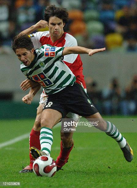 Sporting Lisbon played against Sporting Braga in the 9th round of the Portuguese National football league In picture Joao Moutinho and Luis Filipe