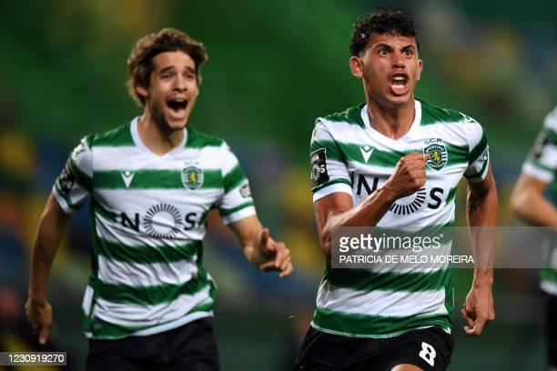 Sporting Lisbon's Brazilian midfielder Matheus Nunes celebrates his goal during the Portuguese league football match Sporting CP against SL Benfica...