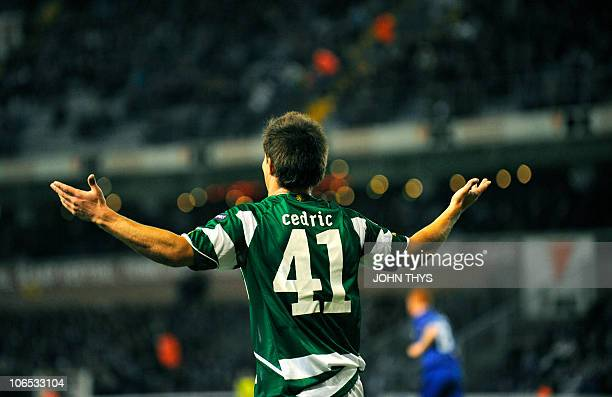 Sporting Lisbon's forward Cedric reacts during their UEFA Europa League group C football match on November 4 at the Jules Ottenstadion stadium in...