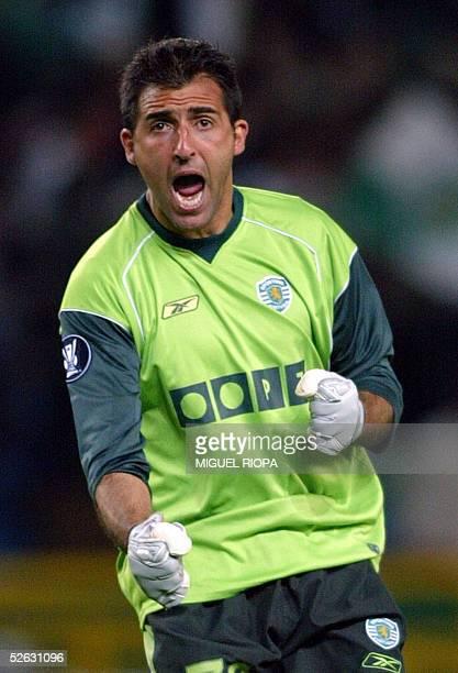 Sporting Lisbon's goalkeeper Ricardo celebrates his team's third goal against Newcastle during their quarter final second leg Uefa Cup football match...