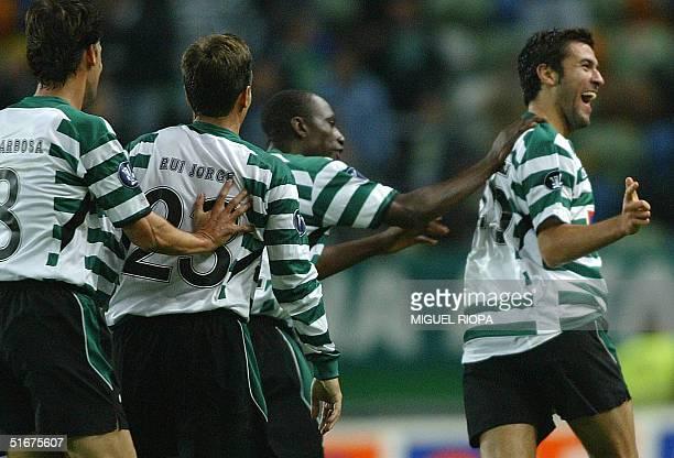 Sporting Lisbon's Hugo Viana runs celebrating his goal against Panionios during their Uefa Cup group D football match at Jose Alvalade Stadium in...