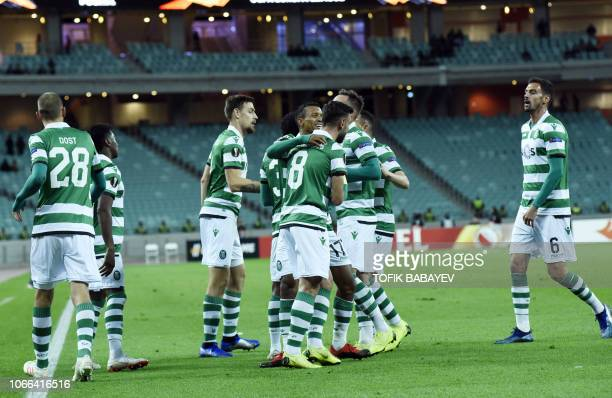 Sporting Lisbon's players celebrate a goal during the UEFA Europa League group E football match between Qarabag FK and Sporting Clube de Portugal in...