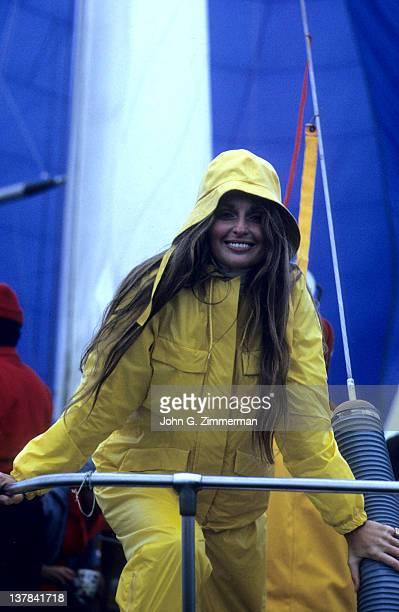 Portrait of Samantha Jones wearing Mighty Mac's foul weather gear yellow raincoat Marina del Rey CA CREDIT John G Zimmerman