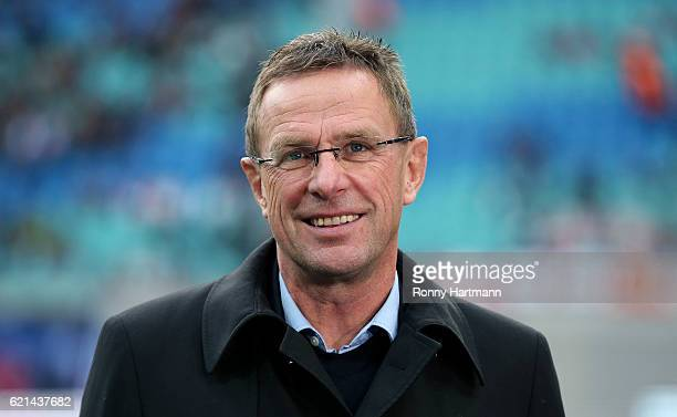 Sporting manager Ralf Rangnick of Leipzig smiles prior to the Bundesliga match between RB Leipzig and 1 FSV Mainz 05 at Red Bull Arena on November 6...