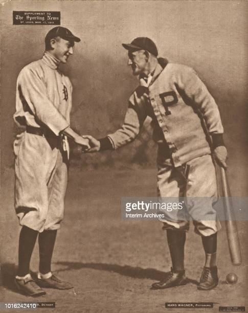 Sporting News illustration shows American baseball players Ty Cobb , of the Detroit Tigers, and Honus Wagner , of the Pittsburgh Pirates, as they...