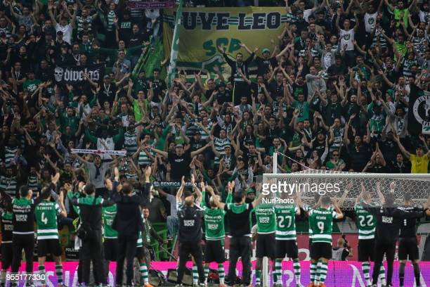 Sporting players acknowledge supporters during the Portuguese League football match between Sporting CP and SL Benfica at Alvalade Stadium in Lisbon...