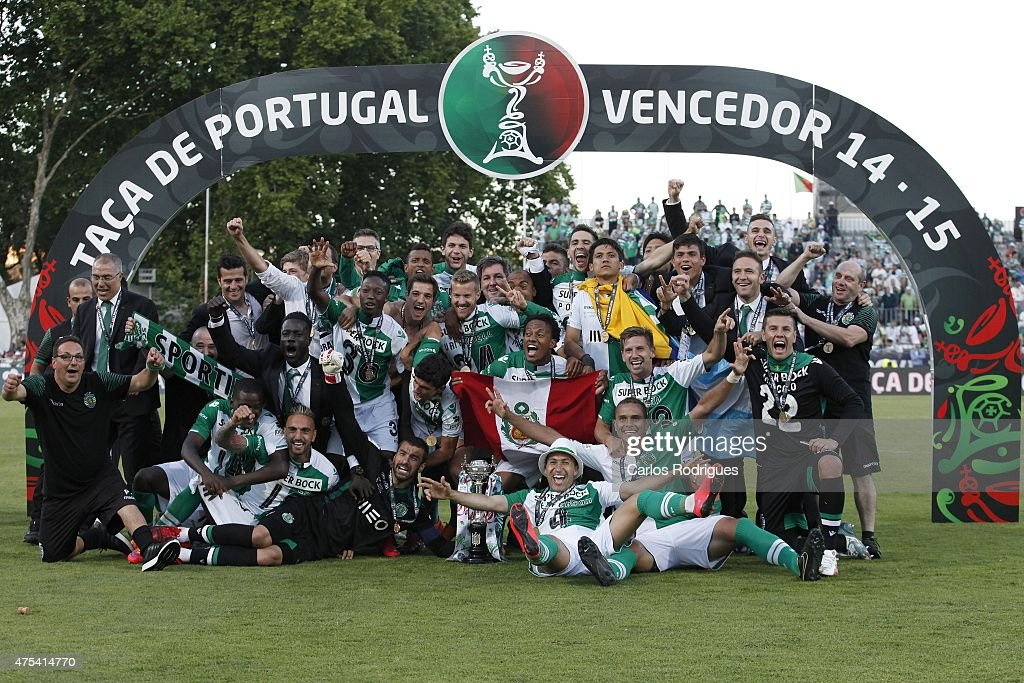 Sporting players celebrating winning the Cup during the Portuguese Cup Final between Sporting CP and SC Braga at Estadio Nacional on May 31, 2015 in Oeiras, Portugal.