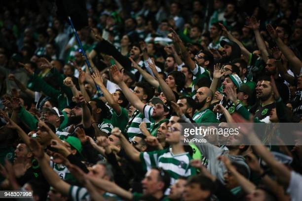 Sporting supporters cheer up their team during the Portuguese Cup football match between Sporting CP and FC Porto at Jose Alvalade Stadium in Lisbon...