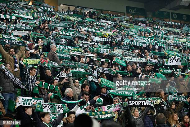 Sporting supporters during the match between Sporting CP and SL Benfica for the Portuguese Primeira Liga at Jose Alvalade Stadium on March 05 2016 in...
