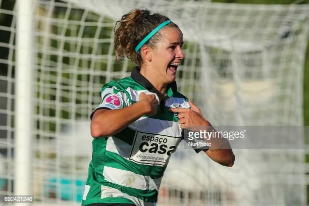 Sportings Ana Capeta celebrating after scoring a goal during the match between Sporting CP and SC Braga for the Portuguese Women's Final Cup at...