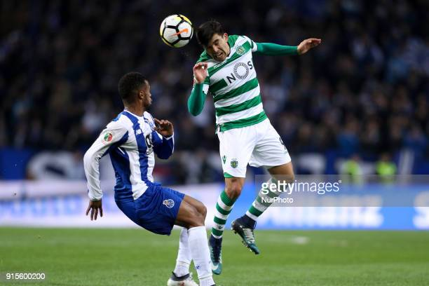 Sporting's Argentinian forward Marcos Acuna in action with Porto's Portuguese forward Hernani during the Portuguese Cup 2017/18 match between FC...