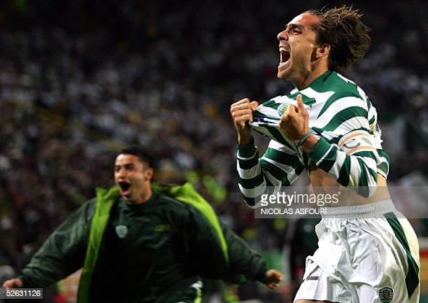 Sporting's Beto celebrates as he scores the third goal of the match during their quarter-final, second leg UEFA Cup football match at the Alvalade...