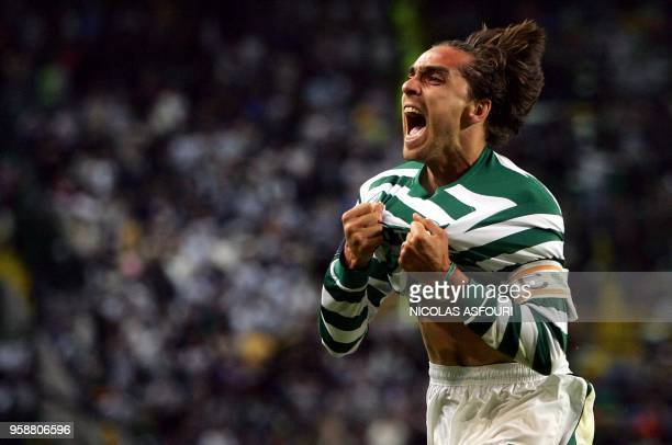 Sporting's Beto celebrates as he scores the third goal of the match during their quarterfinal second leg UEFA Cup football match at the Alvalade...