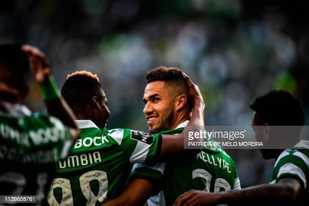 Sporting's Brazilian forward Luiz Phellype celebrates his goal during the Portuguese League football match between Sporting Lisbon and Vitoria de...