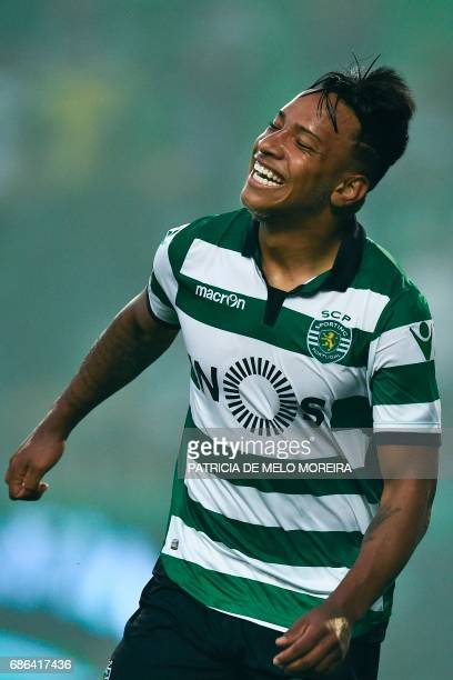 Sporting's Brazilian forward Matheus Pereira celebrates after scoring during the Portuguese league football match Sporting CP vs GD Chaves at the...