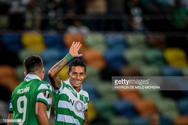 Sporting's Brazilian forward Raphinha celebrates a goal during the UEFA Europa League group E football match between Sporting CP and Qarabag FK at...