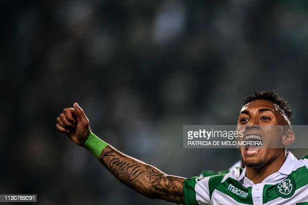 Sporting's Brazilian forward Raphinha celebrates a goal during the Portuguese league football match between Sporting CP and CD Santa Clara at the...