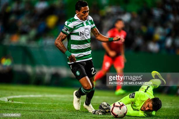 Sporting's Brazilian forward Raphinha vies with Maritimo's Iranian goalkeeper Amir Abedzadeh during the Portuguese league footbal match between...