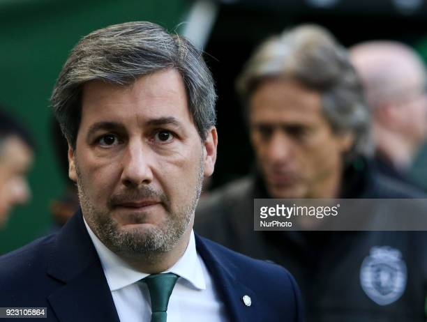 Sporting's chairman Bruno de Carvalho looks on during the UEFA Europa League football match between Sporting CP and FK Astana at Jose Alvalade...