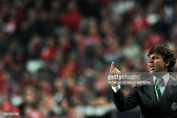 Sporting's coach Domingos Paciencia gestures during the Portuguese league football match against Benfica at the Luz Stadium in Lisbon, on November...