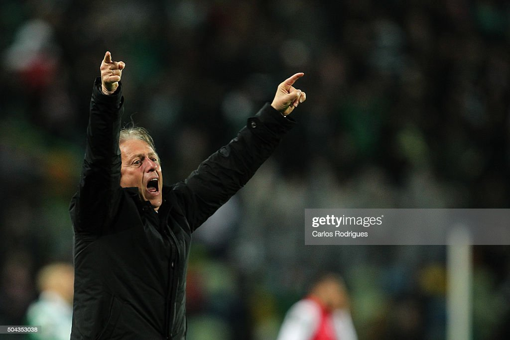 Sporting's coach Jorge Jesus celebrates winning the match between Sporting CP and SC Braga for the Portuguese Primeira Liga at Jose Alvalade Stadium on September 21 2015 in Lisbon, Portugal.