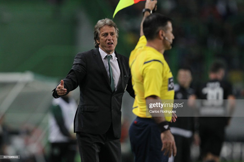 Sporting's coach Jorge Jesus during the match between Sporting CP and A Academica de Coimbra for the Portuguese Primeira Liga at Jose Alvalade Stadium on January 30, 2016 in Lisbon, Portugal.