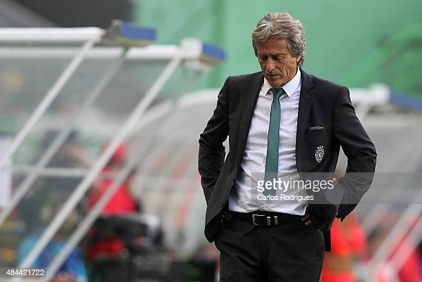 Sporting's coach Jorge Jesus during the UEFA Champions League qualifying round playoff first leg match between Sporting CP and CSKA Moscow at Estadio...