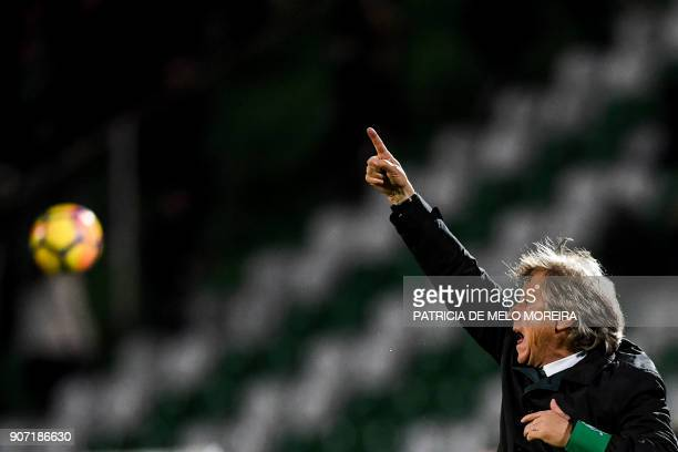Sporting's coach Jorge Jesus gestures from the sideline during the Portuguese league football match between Vitoria FC and Sporting CP at the Bonfim...