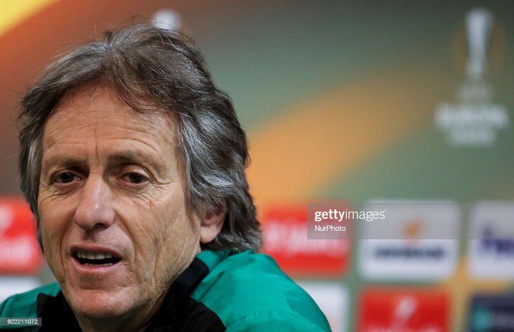 Sporting's coach Jorge Jesus gives a press conference in Lisbon on February 21, 2018 on the eve of the UEFA Europa League round of 32 second leg football match between Sporting CP and FC Astana.