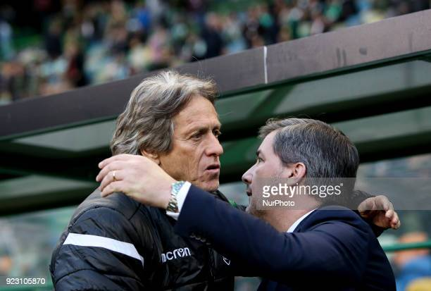 Sporting's coach Jorge Jesus greets Sporting's chairman Bruno de Carvalho during the UEFA Europa League football match between Sporting CP and FK...