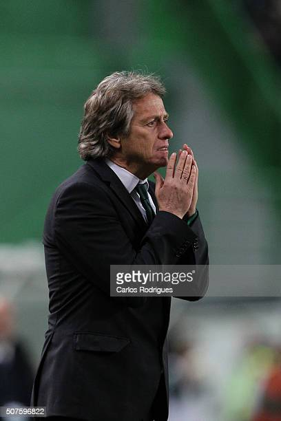 Sporting's coach Jorge Jesus reacts being exclude from the match between Sporting CP and A Academica de Coimbra for the Portuguese Primeira Liga at...