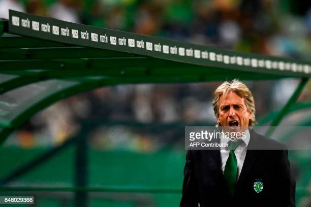 Sporting's coach Jorge Jesus shouts during the Portuguese league football match Sporting CP vs CD Tondela at the Jose Alvalade stadium in Lisbon on...