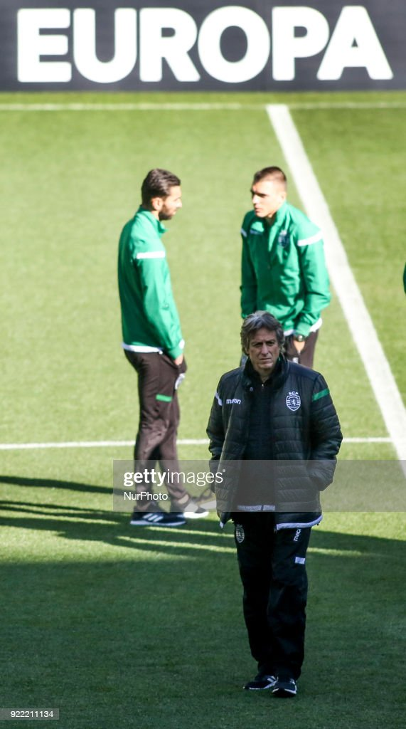 Sporting's coach Jorge Jesus (front) walks on the pitch in Lisbon on February 21, 2018 on the eve of the UEFA Europa League round of 32 second leg football match between Sporting CP and FC Astana.