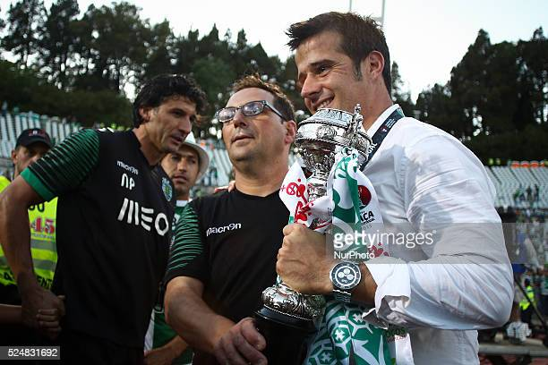 Sporting's coach Marco Silva celebrating the victory of the Portuguese cup during the Portuguese Cup football match between Sporting CP and SC Braga...