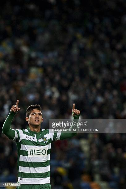Sporting's Colombian forward Freddy Montero celebrates a goal during the Portuguese league football match Sporting vs Rio Ave at Alvalade stadium in...