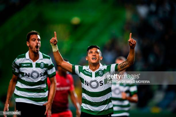 Sporting's Colombian forward Fredy Montero celebrates after scoring during the Portuguese league footbal match between Sporting CP and CS Maritimo at...