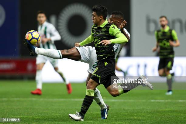 Sporting's Colombian forward Fredy Montero vies with Setubal's Portuguese defender Jose Semedo during the Portuguese League Cup 2017/18 Final match...