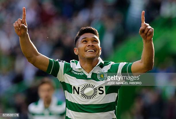 Sporting's Colombian forward Teofilo Gutierrez celebrates his goal during the Portuguese league football match Sporting CP vs Uniao Madeira at the...