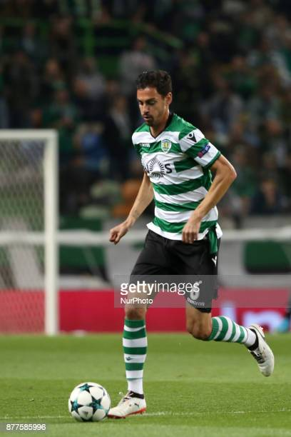 Sporting's defender Andre Pinto from Portugal in action during the UEFA Champions League group D football match Sporting CP vs Olympiacos FC at...