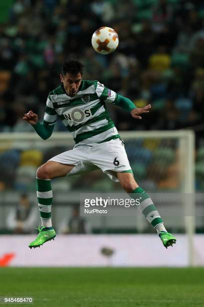 Sporting's defender Andre Pinto from Portugal in action during the UEFA Europa League second leg football match Sporting CP vs Atletico Madrid at...