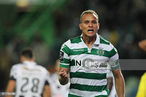 Sporting's defender Ewerton celebrates scoring Sporting's first goal during the match between Sporting CP and Boavista FC for the Portuguese Primeira...