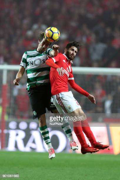 Sporting's defender Fabio Coentrao from Portugal heads the ball with Benfica's Portuguese midfielder Rafa Silva during the Portuguese League football...